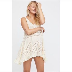 Free People NWT M Voile and Lace Trapeze Slip